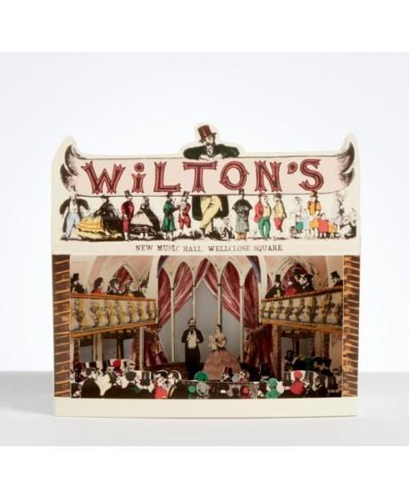 Teatro de papel. Tarjeta troquelada Wilton's New Music Hall - Diorama de Pollock